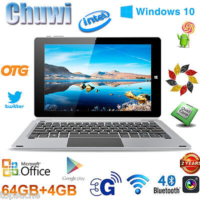 64GB+4GB 10.1'' CHUWI Hi10 Pro PC Tableta Win10 + Android 5.1 1920x1200 +Teclado