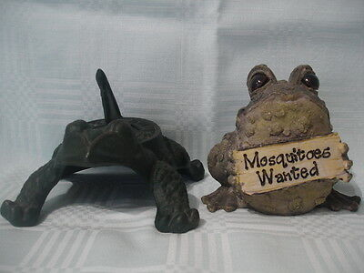 "Frog Sundial, Green & Frog/toad Comic Figure With Sign ""mosquitoes Wanted"""