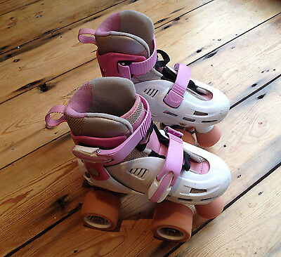SFR Storm Kids childrens' Adjustable Roller Skates Pink & White (UK Size 8-11)