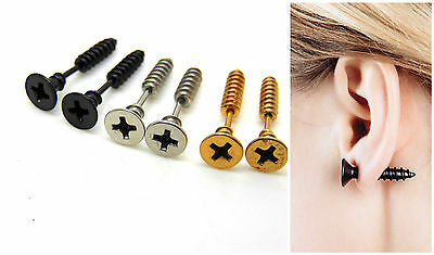 1 Pair Womens Mens Punk Goth STAINLESS STEEL Whole Screw Ear Studs Earring ML
