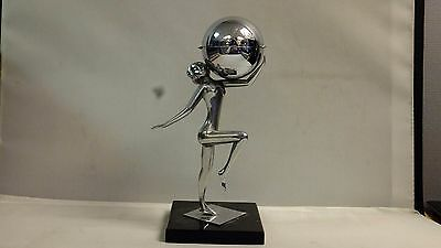 1930S CHROME ART DECO NUDE LADY FIGURE WITH GLOBE LIGHTER UK Shipping