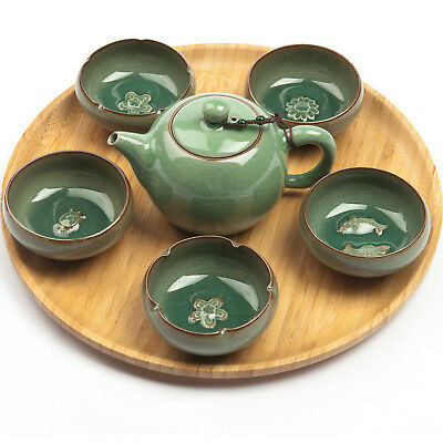 """Chinesisches Gongfu Cha Teeservice """"Charms"""" aus Seladon, 6tlg"""