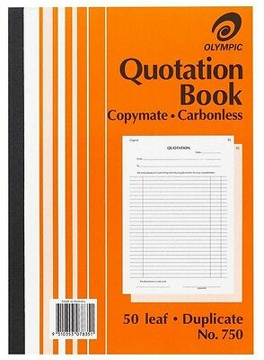 5 x Olympic Quotation Book Carbonless 50 Leaf Duplicate No.750 x 5 Books
