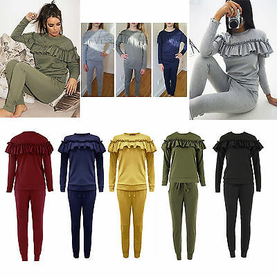 Ladies Kids 2Piece Frill Detail Top & Jogger Long Sleeves Lounge Wear Suit Set