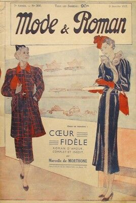 Mode et Roman n°300 - 1937  - French Vintage Magazine - Tricot Barbotteuse
