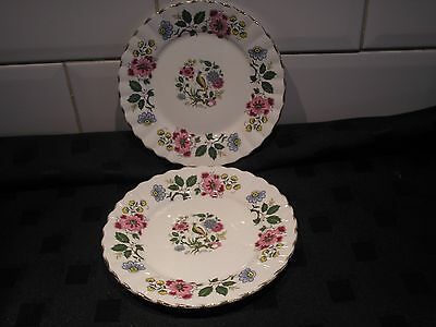 "Vintage China Exotic Bird of Paradise Side / Tea Plates Pair 6"" diameter"