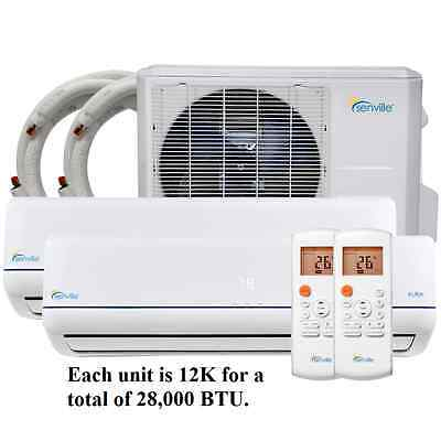 Senville 28000 BTU Dual Zone 12K/12K MiniSplit Air Conditioner Heat Pump 23 SEER
