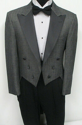 Grey Tuxedo Tailcoat With Satin Peak Lapel Wedding Costume Halloween Vampire 42R