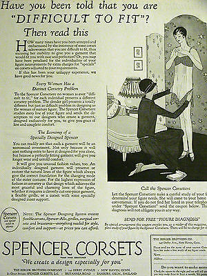 Spencer CUSTOM CORSETS BRAS GIRDLES 1927 ART DECO Print Advertising Ad Matted
