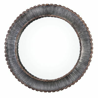 """Contemporary Bronze Metal Strips Round Wall Mirror   Large 46"""" Industrial Loft"""