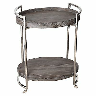 Contemporary Reclaimed Wood Serving Bar Cart | Rolling Wheels Industrial Rustic