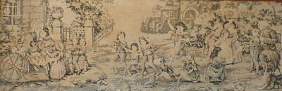 VINTAGE / Antique tapestry French 54w x 19 Ins Country scenes & children