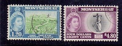 Montserrat. $1.20 and $4.80 type 2. Used. QE2. 1955.  SG 147 & 149A