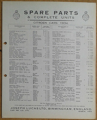 Citroen cars of 1934  Lucas Parts List 170  Others available