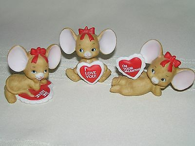 NEW Geo. Z. Lefton 1990 Valentine Porcelain 3 pc Mice Mouse Figurines New Cute!