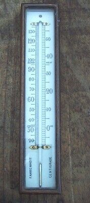 Good Antique Oak Cased Barometer Thermometer with a Milk Glass Scale