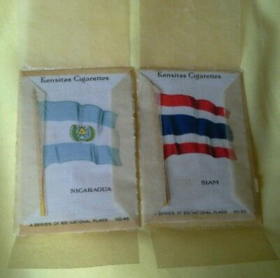 2 Kensitas Cigarette Silk National Flags. Numbers 45 and 50 Nicaragua and Siam
