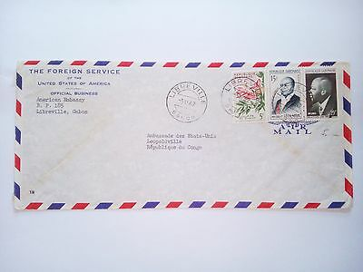 Gabon Libreville 1962 Stamped Cover Air Mail To Congo Leopoldville Ambassade Usa