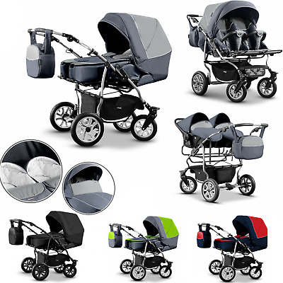 Twin Pram 3in1 Pushchair Double Tandem  Buggy Twins +Car seats Carrycots