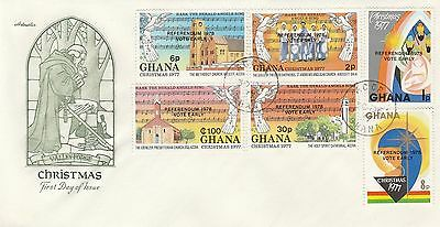 1977 Ghana Christmas Stamps 1978 Referendum OP First Day Cover CDS PMK Ref MT206