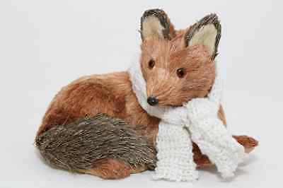 NATURAL CRAFT HANDMADE HOLIDAY BROWN FOX W WHITE /SCARF (Buy 2 get free critter)