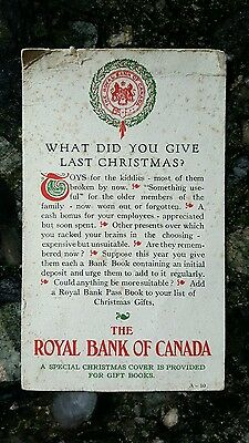 Vintage Christmas Royal Bank of America - Advertising Card