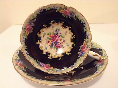 Vintage Black Tapestry Roses Paragon Tea Cup And Saucer