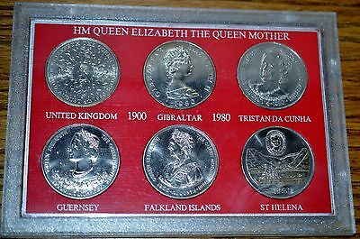 HM ELIZABETH-THE QUEEN MOTHER-80th BIRTHDAY COMMEMORATIVE SIX WORLD COINS