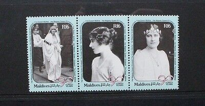 MALDIVES 1990 QE2 Queen Mother Birthday. Strip of 3. Mint Never Hinged SG1396/98