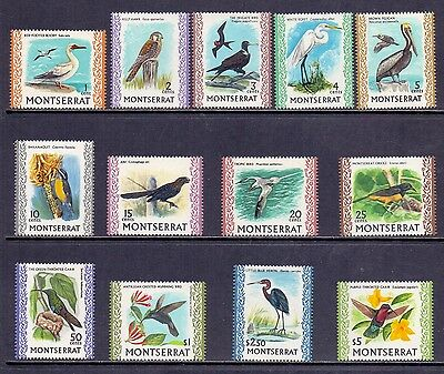 Montserrat. Short set of 13 mint never hinged bird stamps. 1970. SG 242 to 254