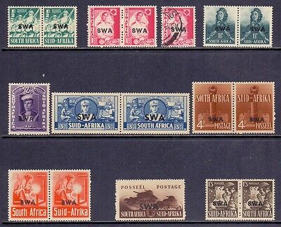 South West Africa. Set of LH mint and 1 used South Africa War Effort with o'prt