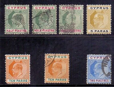 Cyprus. 7 used KE7 stamps. Crown CA & Multi Crown CA. Issued 1902 & 1904/08