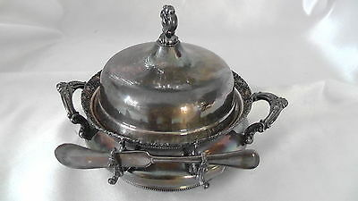 Forbes Silver Co. Quadruple Butter / Cheese Silver Bowl w/Knife