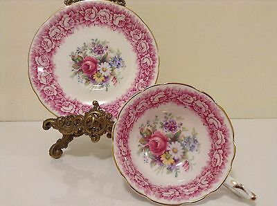 Beautiful Vintage Flowers With Surrounded Pink Roses Paragon Tea Cup And Saucer