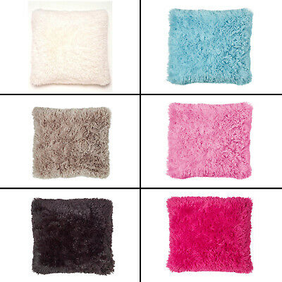 Catherine Lansfield Fluffy Soft Cushion Cover Case Cream Pink Blue Natural Black