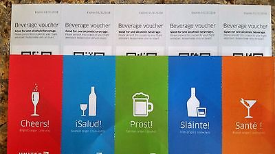 10 United Airlines drink beverage voucher coupon expires 1/31/2018