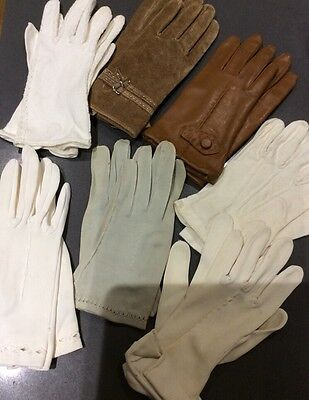 Vintage ladies mens white gloves several pairs
