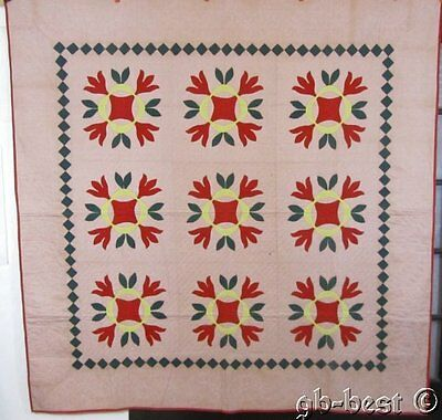 Antique 1880s PA Oak Leaf Tulip APPLIQUE Quilt 82 x 82 RED GREEN