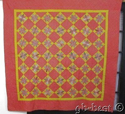 "Primitive PA 1880s Touching Stars Antique QUILT Brown Yellow Pink 76"" x 75"""