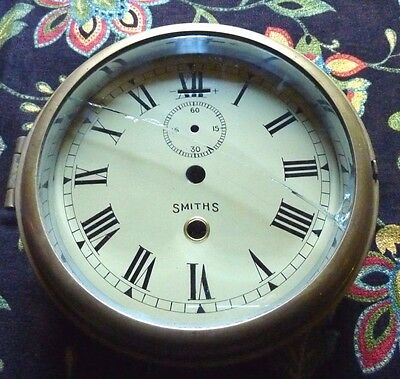 Antique Smith's Brass 8 Day Ship Clock / For Parts / Repair