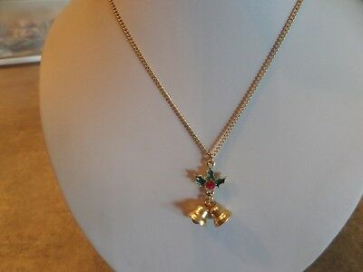 Gold Tone Christmas Bells Necklace