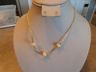 Vintage Gold Tone and Cream Glass Bead Necklace