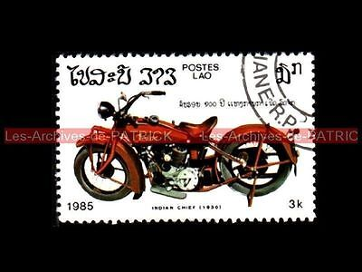 INDIAN CHIEF Scout 1930 - LAO LAOS Moto Collection Stamp
