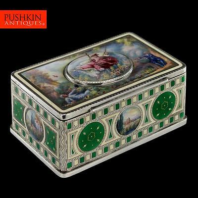 ANTIQUE 19thC STUNNING SOLID SILVER & HAND PAINTED ENAMEL JEWELLERY BOX  c.1890