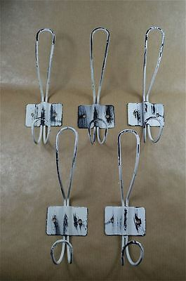 Set of 5 vintage French cafe style white steel coathooks coat hook hanger rack