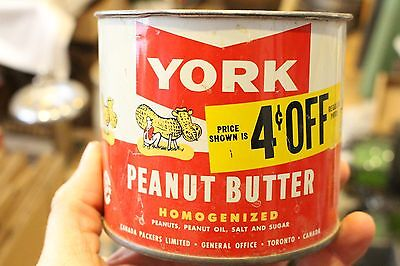 Vintage York Peanut Butter Tin Bucket Can Canadian Toronto Canada Store Sign