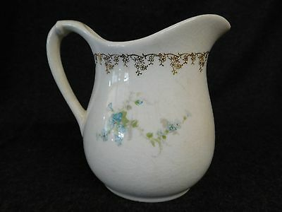 Vintage or Antique WHITE GRANITE Pottery Pitcher W. S. GEORGE 166D (AB1065)