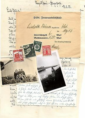 Original Ww2 German Letter +4 Stamps +Postcard+ Certificate  And 2 Photos .