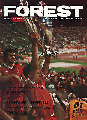 1979/80 Nottingham Forest v Dynamo Berlin, European Cup, PERFECT CONDITION