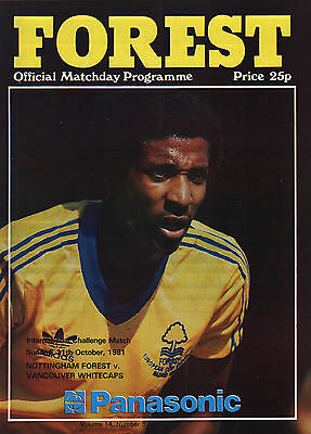 1981/82 Nottingham Forest v Vancouver Whitecaps, Friendly, PERFECT CONDITION